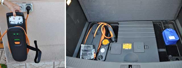 La base para enrollar el cable de carga, que se guarda en el maletero, tiene un dispositivo que permite limitar el amperaje de carga en función del enchufe de que disponemos