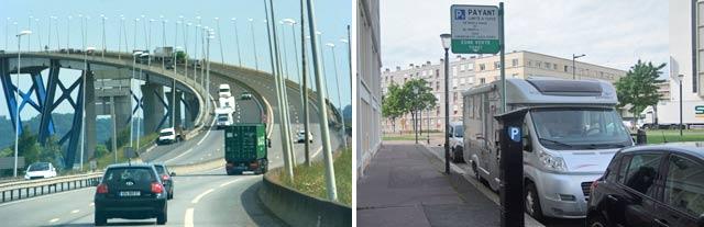 Puente de Normandie / Aparcados en zona verde cercana a la Av. Foch de Le Havre