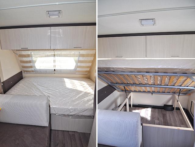La cama principal con el somier de apertura asistida