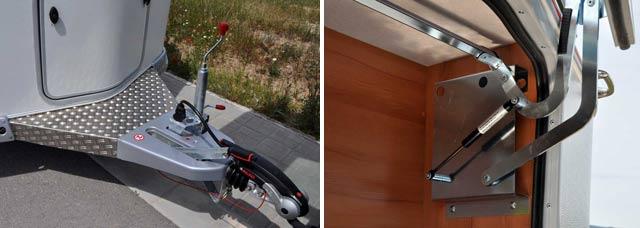El estabilizador Alko AKS 3004 es parte del equipo de serie / La apertura de la puerta del cofre delantero es asistida