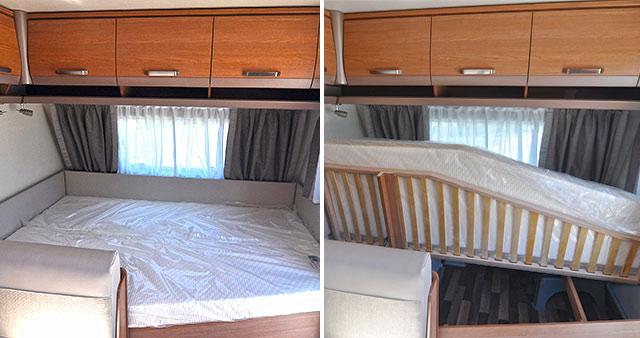 El somier de la cama delantera se levanta para dar paso a un gran tambucho accesible desde el exterior