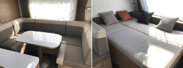 El interior cuenta con un amplio salón al lado de la cama.