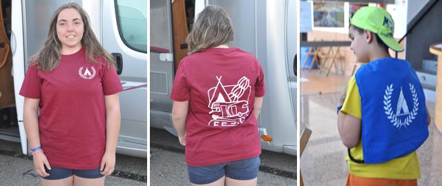 Camiseta donada por la FECC a los jóvenes  y la mochila de los infantiles